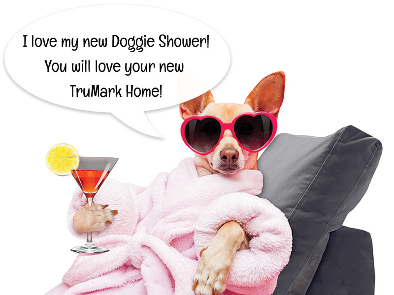 Image of a dog in heart shaped sun glasses, pink robe, and holding a drink.